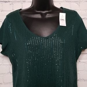 Ann Taylor Loft short sleeve embellished top